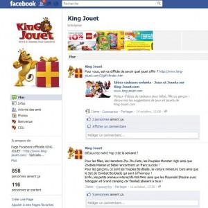 Page fan King Jouet sur Facebook
